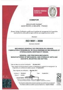 COMEFOR : certification ISO 9001
